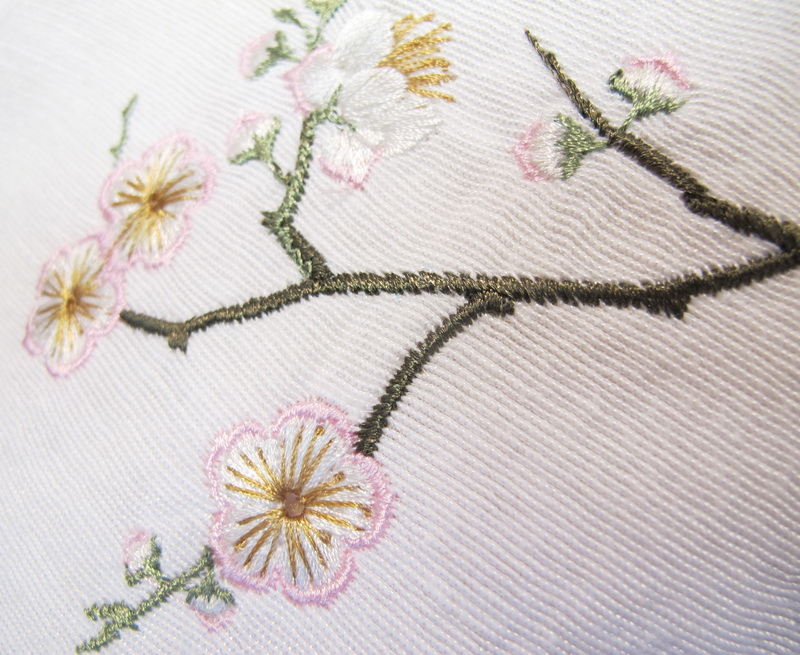 Kyoto Garden Machine Embroidery Designs Blouse with birds and Blossom Flowers. Japanese Kyoto Style.