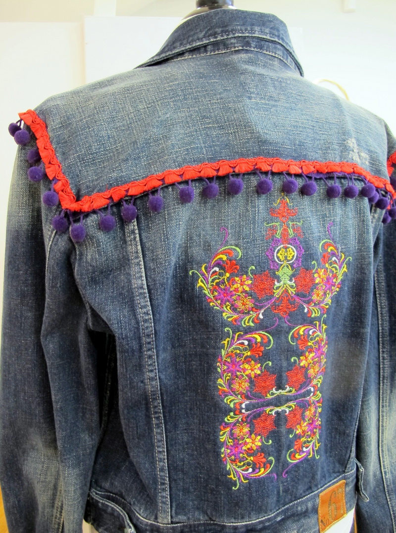 Nordic Delight Machine Embroidery Designs by Stitchingart. Artistic patterns and Colourful Jean Jacket