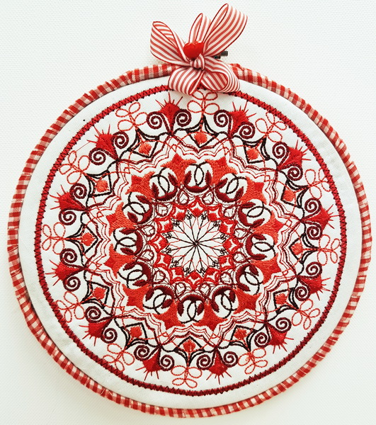 Pillow Talk Machine Embroidery Designs. Decorative circle wall hanging
