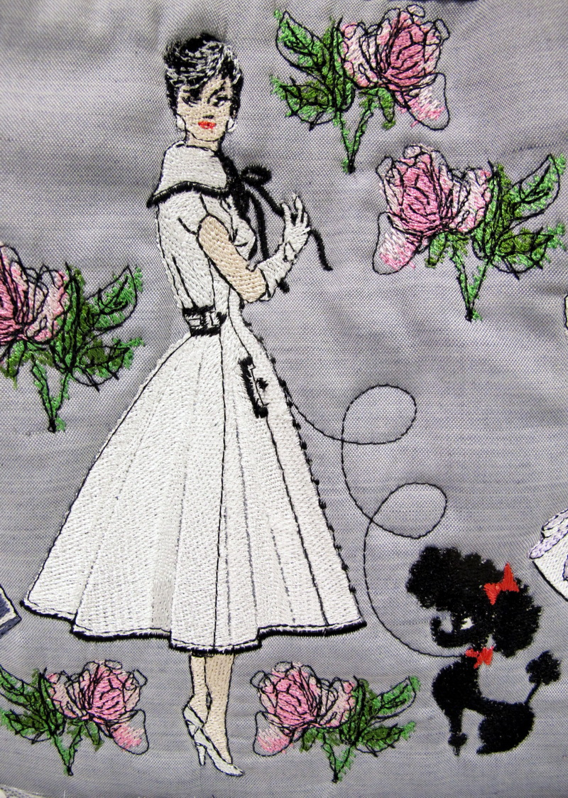 City Slicker Machine Embroidery Designs by Stitchingart. Bag with ladies, birds, eiffel tower roses and poodle.