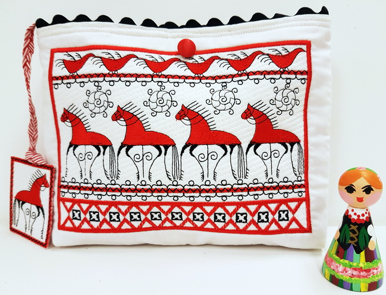 Folklore Machine Embroidery Designs by Stitchingart. Folklore purse with horses.