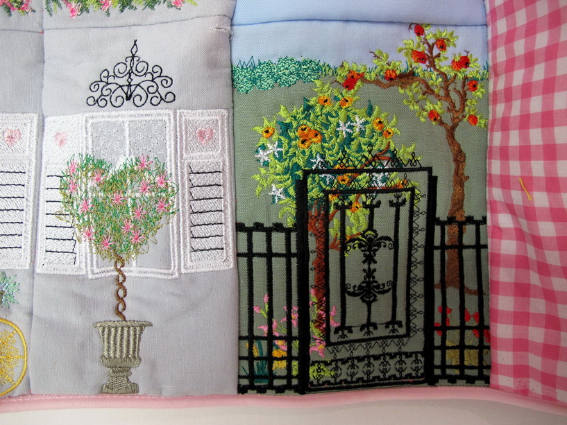 Let's Sew Machine Embroidery Designs by Stitchingart. Sewing Machine Cover with houses, windows, georgian style.