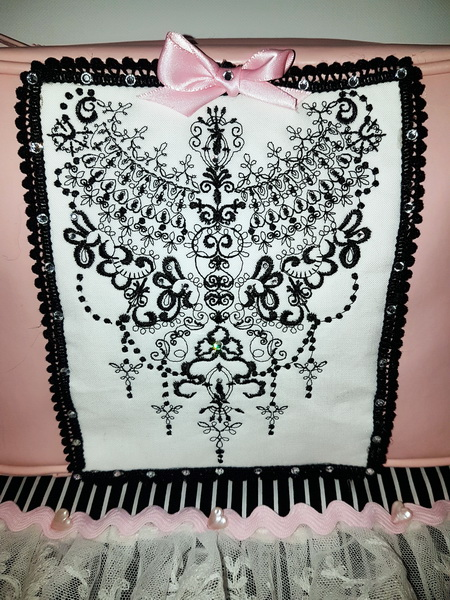 Material Girl Machine Embroidery Designs by Stitchingart. Embroidered artistic design sewn on a bag.