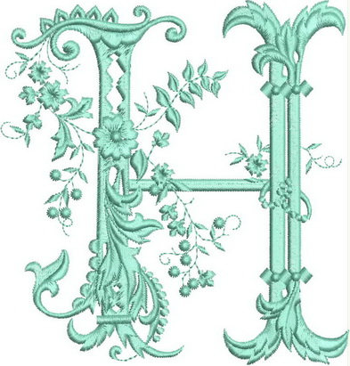Monograms Machine Embroidery Designs. Letter H