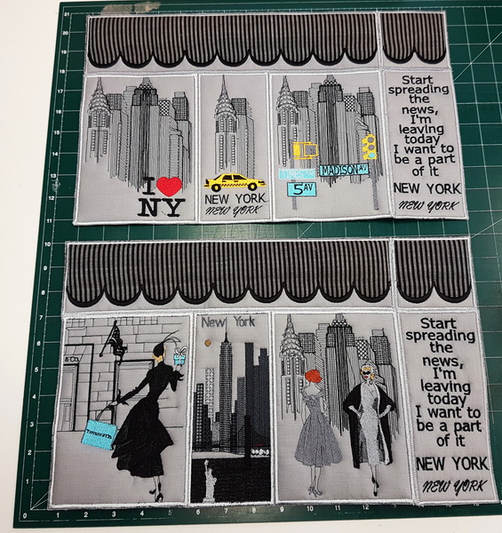 New York Machine Embroidery Designs. Stitching panels together