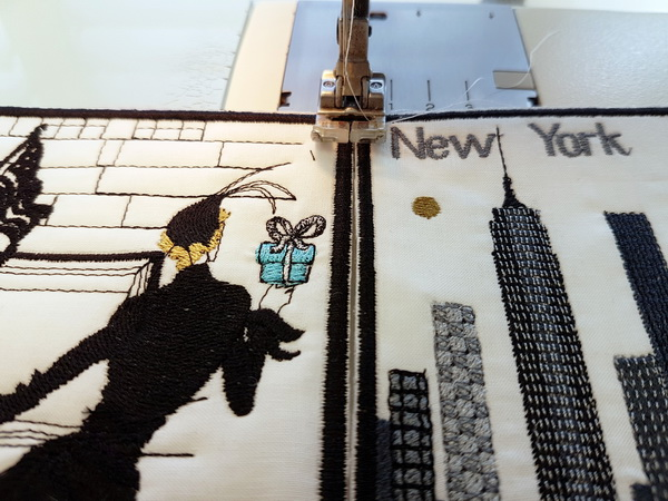 Sewing out the New York Machine Embroidery Design Set