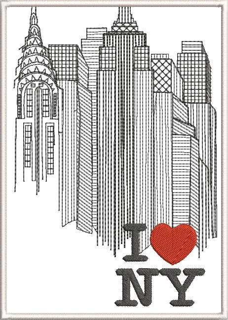 New York Machine Embroidery Designs by Stitchingart. I love NY with New York buildings.