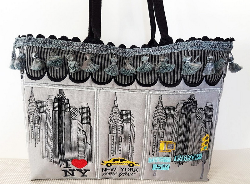New York Machine Embroidery Designs by Stitchingart. Embroidered bag. Back of bag.