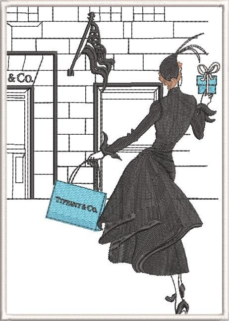 New York Machine Embroidery Designs by Stitchingart. Lady holding Tiffany and Co bag.