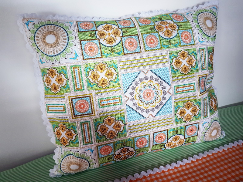 Sorbet Shades Machine Embroidery Designs. Beautiful pattern embroidered coloured cushion.