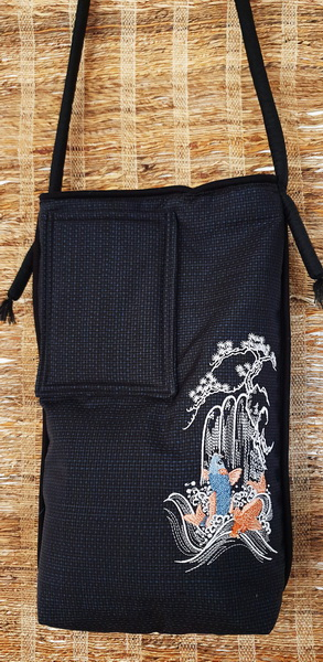 Spring of Life Machine Embroidery Design Bag. Black bag with Koi, waterfall and blossom tree. Back of bag