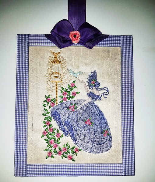 Crinoline Lady Machine Embroidery Designs. Lady with bonnet, old fashioned dress, birds and roses embroidered picture